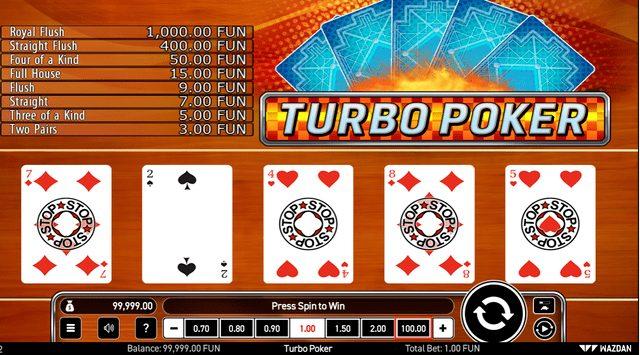 ターボポーカーのゲーム画面