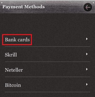 「Bank Cards」を選択